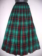 Viyella pure laine vierge vert/rouge tartan plissée en velours Taille Jupe Taille 8