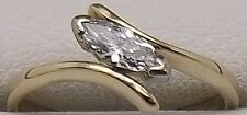18CT YELLOW & WHITE NATURAL SOLITAIRE DIAMOND ENGAGEMENT/DRESS RING VALUED $2822