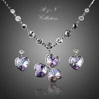 Platinum Plated Heart Flower Earring Necklace Set Made With Swarovski Crystal