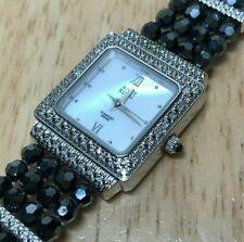 Anne Klein Swiss Lady 6 Real Diamonds Silver Analog Quartz Watch Hour~New Batter