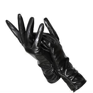Women Girls Genuine Real Leather Classic Pleated Sheepskin Luxury Long Gloves