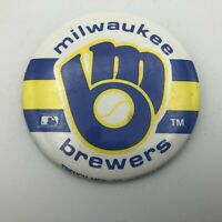 "1987 Milwaukee Brewers 3"" Button Pin Pinback MLB Glove + Ball Logo Vtg   Y1"