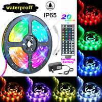 "Waterproof 5M 16.4ft LED Strip Light RGB ""5050"" SMD Light Tape Power + Remote"