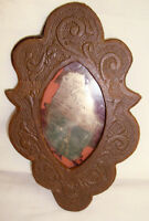 """Antique Folk/Tramp Art Shaving Mirror, Brown Carved Wood, Chain for Hanging, 8"""""""