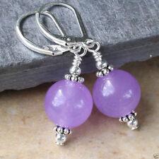 Fashion Handmade 12mm Lavender Jade Round Beads Silver Dangle Earrings AAA+