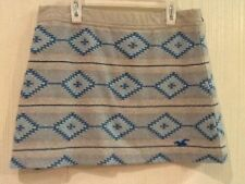 NWT HOLLISTER GRAY BLUE AZTEC TRIBAL GEOMETRIC M PRINT MINI LOUNGE SKIRT