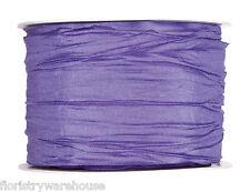 """Lilac Purple pleated taffeta fabric ribbon 60mm (2.4"""") Full 10m roll"""