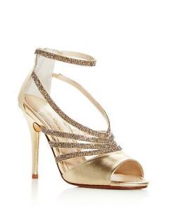 Caparros Women's Judith Embellished Ankle Strap High-Heel Sandal Size 7.5 Gold