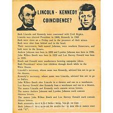 Abraham LINCOLN - John F. KENNEDY Coincidences POSTER (rolled NEVER folded)