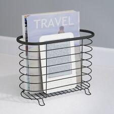 Metal Newspaper Magazine Holder Rack Storage For Office Bathroom , Black Matte