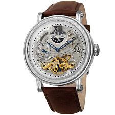 Men's Akribos XXIV AK968SSBR Automatic Skeleton Dual Time Brown Leather Watch