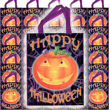 25 Happy Halloween Party Smiling Pumpkin Giant Loot Favour Trick Or Treat Bags