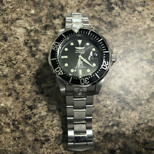 Invicta 3044 Grand Diver Watch 47mm Stainless Steel Case Black Dial & Face Sharp