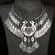 Women Boho Tribal Antique Silver Coins Gypsy Chain Choker Bib Necklace Exotic Co