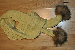 SOFT YELLOW WINTER WOOLEN SCARF WITH TWO AUTHENTIC RACCOON FUR POM POMS.UK STOCK