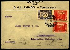 Turkey 1918 cover to Deuben-Dresden Germany Very clean missing back flap