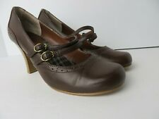 Mudd Womens Mary Jane Style Stacked Heels Brown Size 8M  #0741
