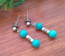 Green Blue Turquoise & Tibetan Tube, Drop Dangle Stud Ethnic boho Earrings Style