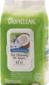 TropiClean Ear Cleaning Wipes for Dogs, 50 count  For Dog & Cat  Free Shipping