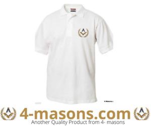 White short sleeve polo shirt  embroidered with Masonic Freemason  design