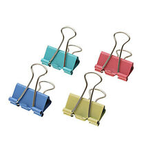 """MS073- Set Of 48 Colored Binder Clips In Plastic Tub With Cover 1"""" Wide Strong"""