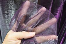 M14 Purple Silver Metallic Iridescent 2 Tones Stretch Mesh Net Fabric Material