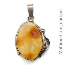 Pendentif en Argent Ambre butterscotch Fleur Floral Sterling Silver Amber Flower