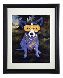 "George Rodrigue Blue Dog Art Prints  ""Mardi Gras""~Framed"
