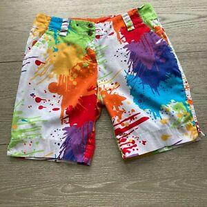LOUDMOUTH Women's Bermuda Golf Shorts Paint Splatter Drop Cloth Design 2