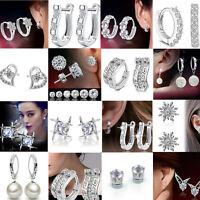 FASHION Silver White rhinestone Crystal stud Hoop Earrings Wedding Jewelry Gift