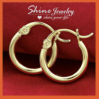 9K YELLOW ROSE WHITE GOLD GF SOLID MEN LADY KID SMALL HOOP SLEEPER EARRINGS GIFT