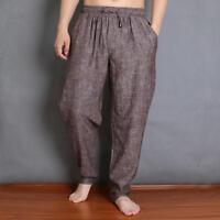 Mens Retro Linen Natural Casual Loose Fit Drawstring Harem Pants Baggy Trousers