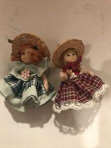 "Lot of 2 Vintage Dollhouse Dolls - Porcelain 3"" tall"