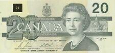 Canadian 1991 Birds of Canada $20 bill 2 Consecutive