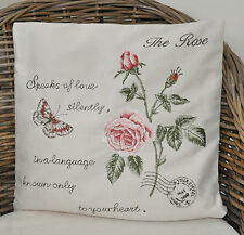 #10429 Kissenhülle Kissen Stickerei Rose Butterfly 40x40 NEU Shabby Chic Vintage