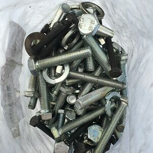 Nuts and Bolts With Washers Mix Bag Various Size Lengths Steel Bolts Black Bolts