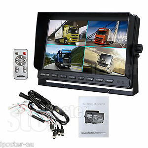 """10.1"""" TFT LCD Quad Monitor 4 Pin connector 4 ch Video in + Remote for Trcuk Van"""