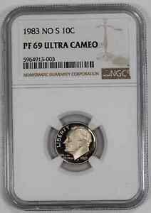 1983 NO 'S' PROOF ROOSEVELT DIME 10C NGC CERTIFIED PF 69 - ULTRA CAMEO (003)