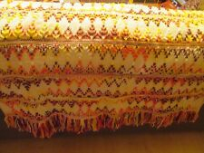 "PRIMITIVE WOVEN THROW COUCH BLANKET VINTAGE MULTI COLOR DESIGN  60"" x 44"""
