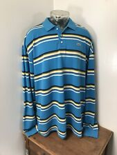 Mens LACOSTE Size 11 Long Sleeve Blue Striped Polo Cotton Shirt Green Alligator