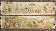 Vtg Circa 1952 Pair Peter Rabbbit & Friends Wallpaper Border Panels 38X9 Prints