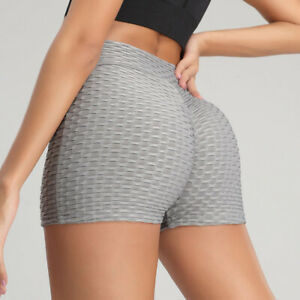 Womens High Waist Yoga Shorts Push Up Ruched Hot Pants Sports Booty Gym Workout