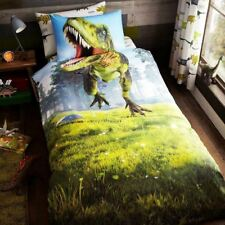 DINO T-REX SINGLE DUVET COVER & PILLOWCASE SET CHILDRENS DINOSAUR