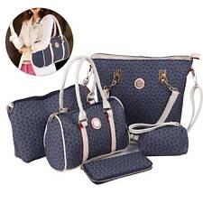 5/Set Damen PU Leder Handtaschen Umhängetasche Schultertasche Geldtasche Clutch
