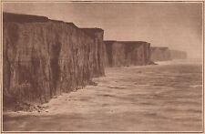 G1195 France - Ault - Les falaises à marée haute - Stampa - 1931 vintage print