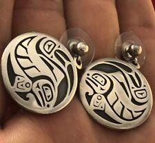 Shadowbox Medallion Dangle Earrings 020918aE Vintage D Dennis Signed Modernist