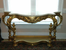 Gold Painted Victorian Marble Top Console Hall Table