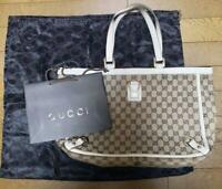 Auth Gucci Shoulder Bag Tote GG Leather Monogram USED White Women Purse G0351