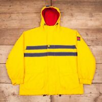 "Mens Vintage 90s Tommy Hilfiger Yellow Fleece Hooded Jacket Large 44"" R11912"