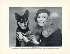 WELSH CARDIGAN CORGI NAMED DOG AND LADY OLD ORIGINAL DOG PRINT PAGE FROM 1934